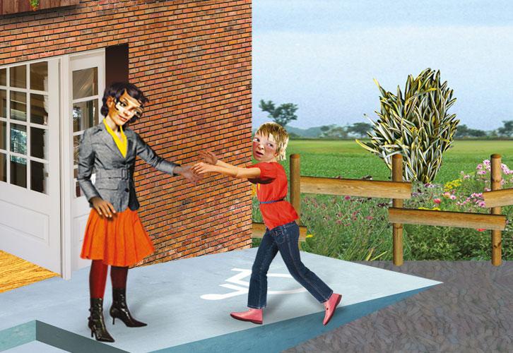 Schoolplein met een juf en een kind